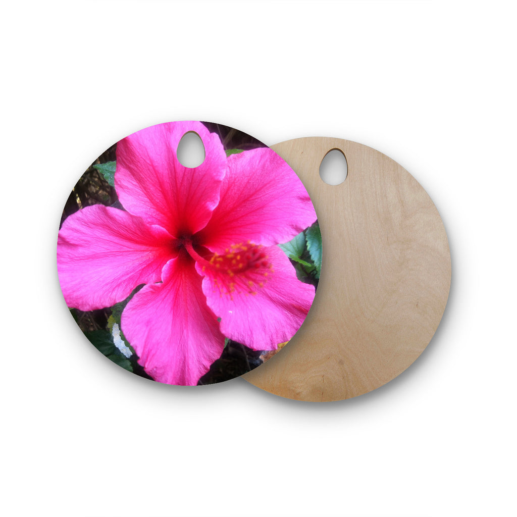 Tropical Pink Hibiscus Round Wooden Cutting Board By Nl Designs