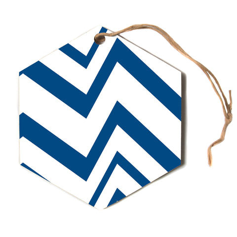 "NL designs ""ZigZag Navy"" Blue White Hexagon Holiday Ornament"