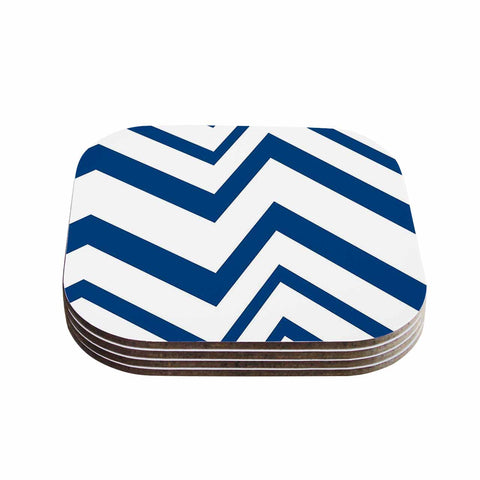 "NL Designs ""ZigZag Navy"" Blue White Coasters (Set of 4)"