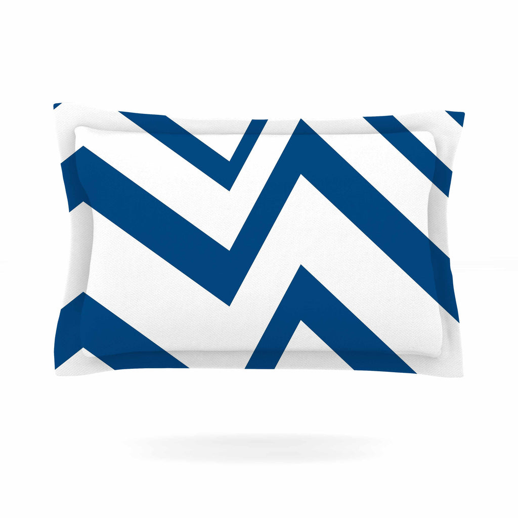 "NL Designs ""ZigZag Navy"" Blue White Pillow Sham - KESS InHouse  - 1"