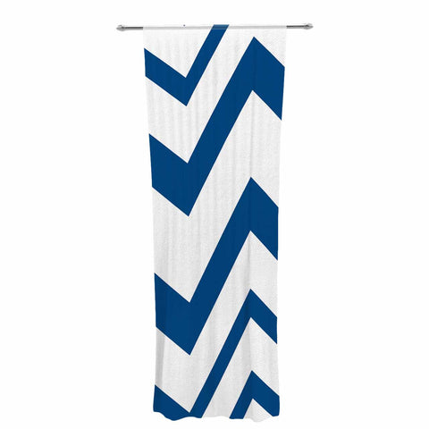 "NL Designs ""ZigZag Navy"" Blue White Decorative Sheer Curtain - KESS InHouse  - 1"