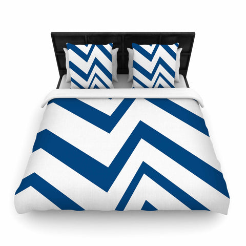"NL designs ""ZigZag Navy"" Blue White Woven Duvet Cover - Outlet Item"