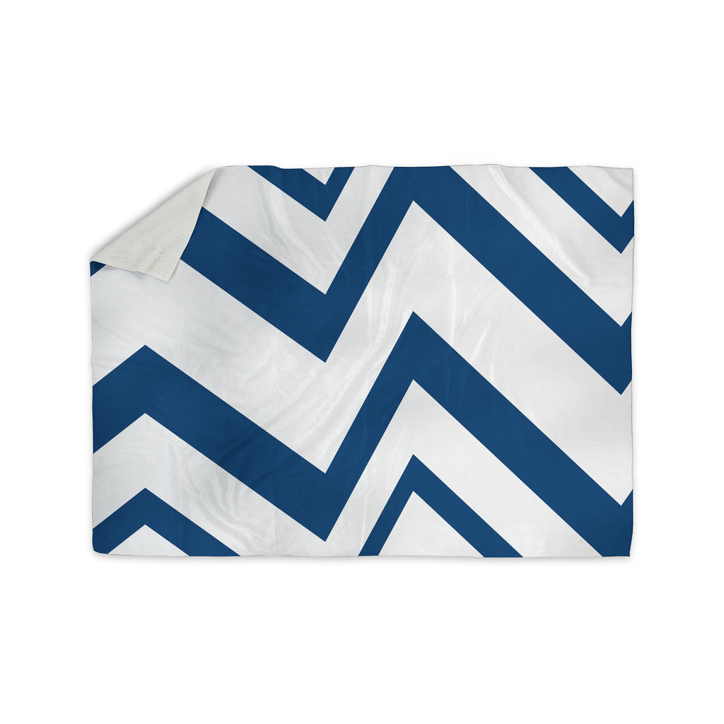 "NL Designs ""ZigZag Navy"" Blue White Sherpa Blanket - KESS InHouse  - 1"