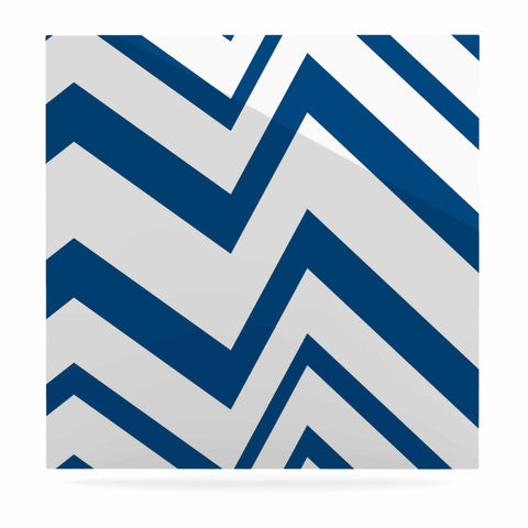 "NL Designs ""ZigZag Navy"" Blue White Luxe Square Panel - KESS InHouse  - 1"