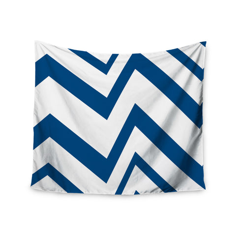 "NL Designs ""ZigZag Navy"" Blue White Wall Tapestry - KESS InHouse"
