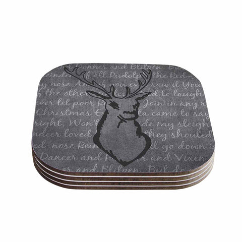 "NL Designs ""Reindeer"" Gray White Coasters (Set of 4)"