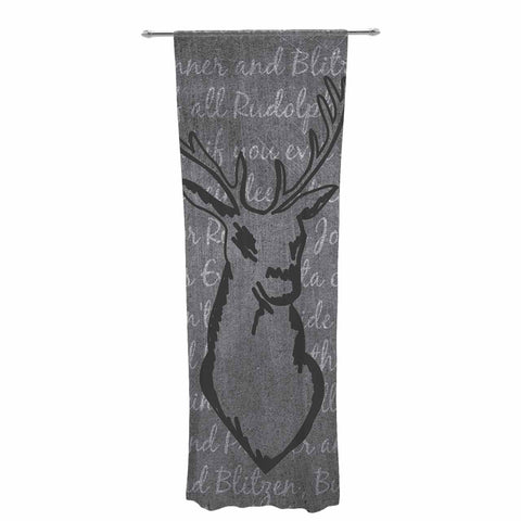 "NL Designs ""Reindeer"" Gray White Decorative Sheer Curtain - KESS InHouse  - 1"