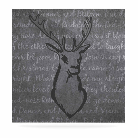 "NL Designs ""Reindeer"" Gray White Luxe Square Panel - KESS InHouse  - 1"
