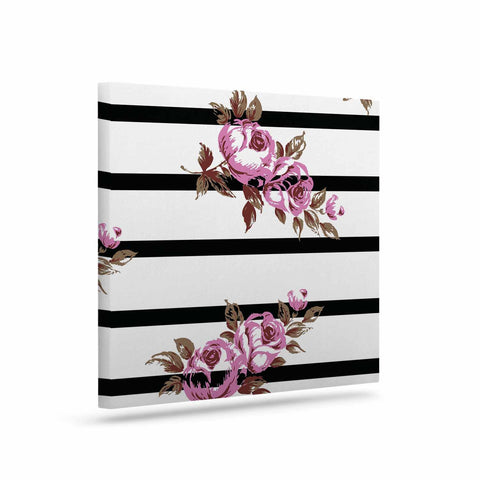 "NL Designs ""Purple Floral Stripes"" Black White Canvas Art - KESS InHouse  - 1"