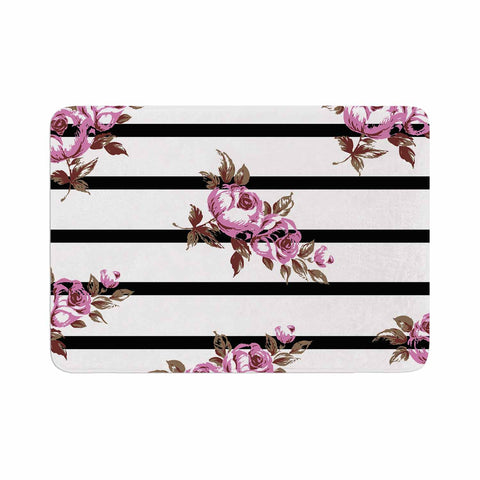 "NL Designs ""Purple Floral Stripes"" Black White Memory Foam Bath Mat - KESS InHouse"