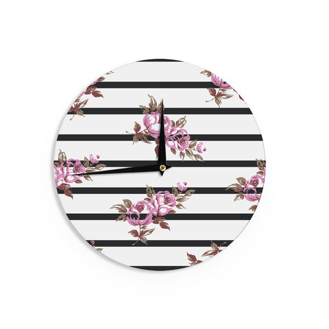 "NL Designs ""Purple Floral Stripes"" Black White Wall Clock - KESS InHouse"