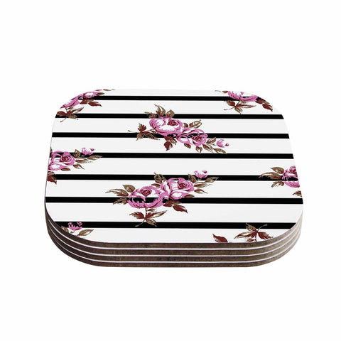 "NL Designs ""Purple Floral Stripes"" Black White Coasters (Set of 4)"