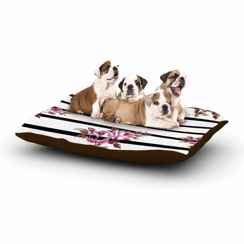 "NL Designs ""Purple Floral Stripes"" Black White Dog Bed - KESS InHouse  - 1"