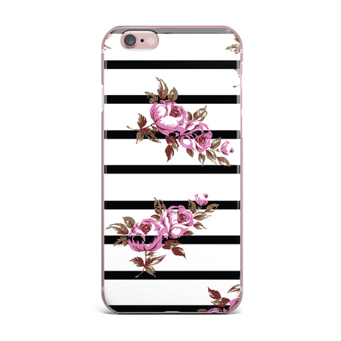 "NL Designs ""Purple Floral Stripes"" Black White iPhone Case - KESS InHouse"