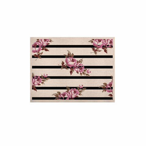 "NL Designs ""Purple Floral Stripes"" Black White KESS Naturals Canvas (Frame not Included) - KESS InHouse  - 1"