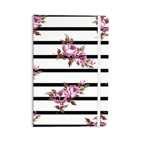 "NL Designs ""Purple Floral Stripes"" Black White Everything Notebook - KESS InHouse  - 1"