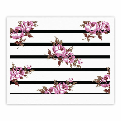 "NL Designs ""Purple Floral Stripes"" Black White Fine Art Gallery Print - KESS InHouse"