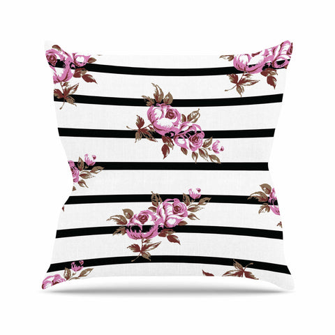 "NL Designs ""Purple Floral Stripes"" Black White Outdoor Throw Pillow - KESS InHouse  - 1"
