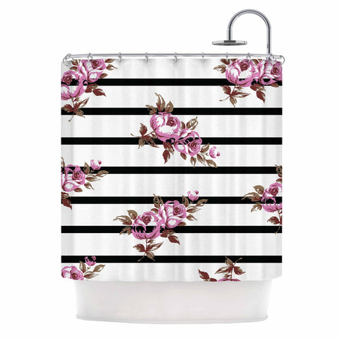 "NL Designs ""Purple Floral Stripes"" Black White Shower Curtain - KESS InHouse"
