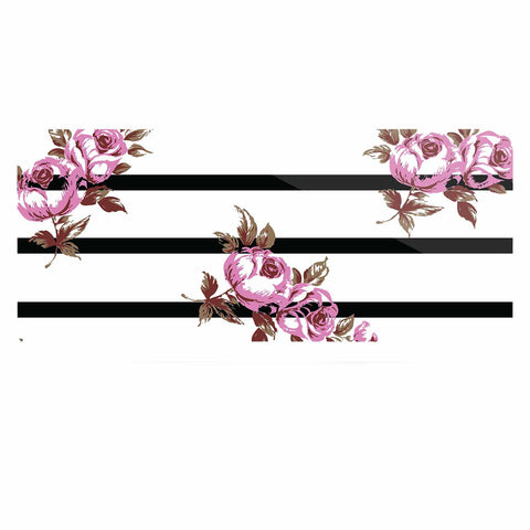 "NL Designs ""Purple Floral Stripes"" Black White Luxe Rectangle Panel - KESS InHouse  - 1"