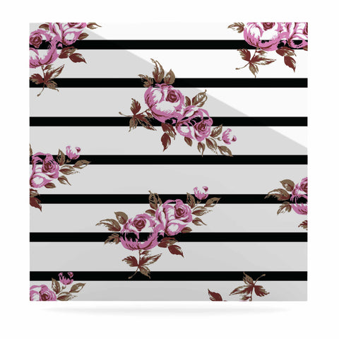 "NL Designs ""Purple Floral Stripes"" Black White Luxe Square Panel - KESS InHouse  - 1"