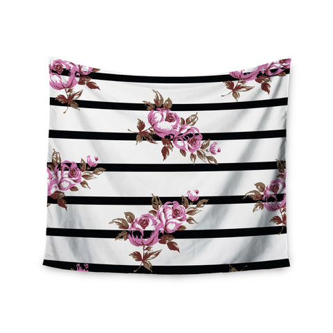 "NL Designs ""Purple Floral Stripes"" Black White Wall Tapestry - KESS InHouse"