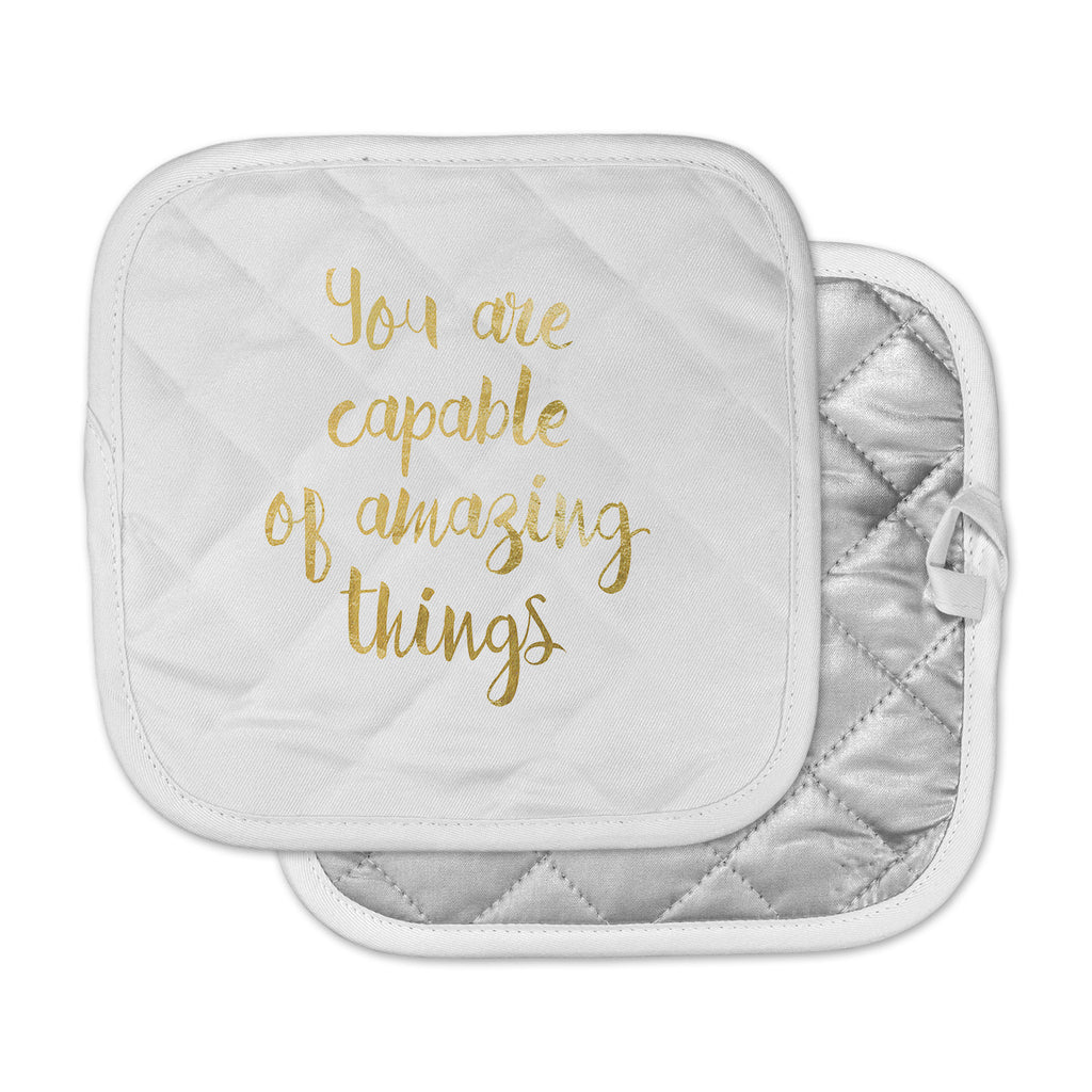 "NL Designs ""Amazing Things"" Gold White Pot Holder"