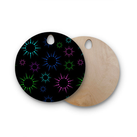 "NL Designs ""Rainbow Fireworks Black"" Multicolor Geometric Round Wooden Cutting Board"