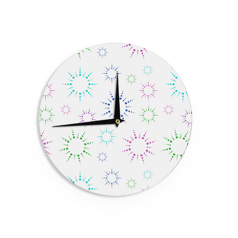 "NL Designs ""Rainbow Fireworks "" Multicolor Pattern Wall Clock - KESS InHouse"