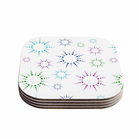 "NL Designs ""Rainbow Fireworks "" Multicolor Pattern Coasters (Set of 4)"