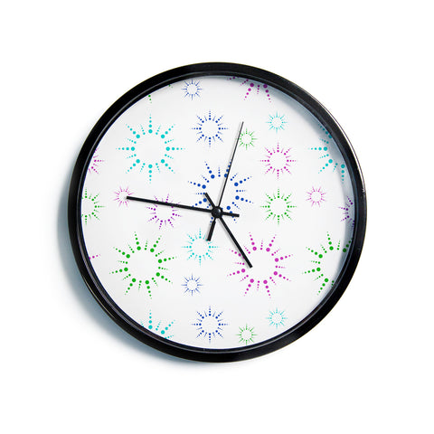 "NL Designs ""Rainbow Fireworks"" Multicolor Pattern Modern Wall Clock"