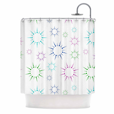 "NL Designs ""Rainbow Fireworks "" Multicolor Pattern Shower Curtain - KESS InHouse"