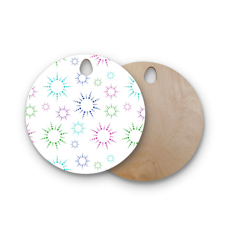 "NL Designs ""Rainbow Fireworks"" Multicolor Pattern Round Wooden Cutting Board"