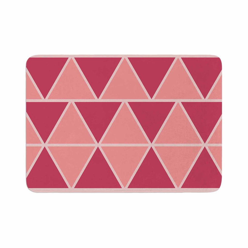 "NL designs ""Coral Peach Triangles"" Pink Patterns Memory Foam Bath Mat - KESS InHouse"