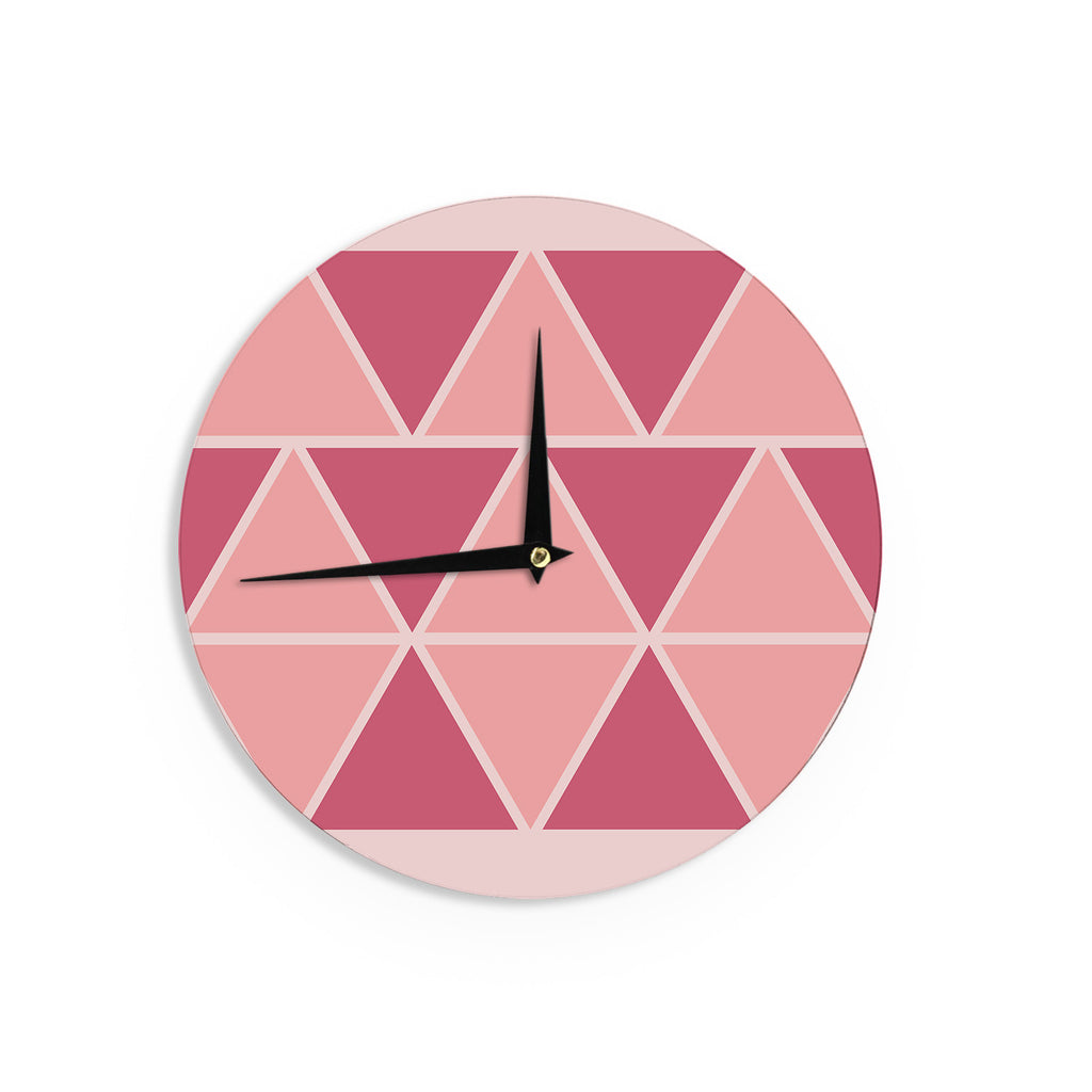 "NL designs ""Coral Peach Triangles"" Pink Patterns Wall Clock - KESS InHouse"