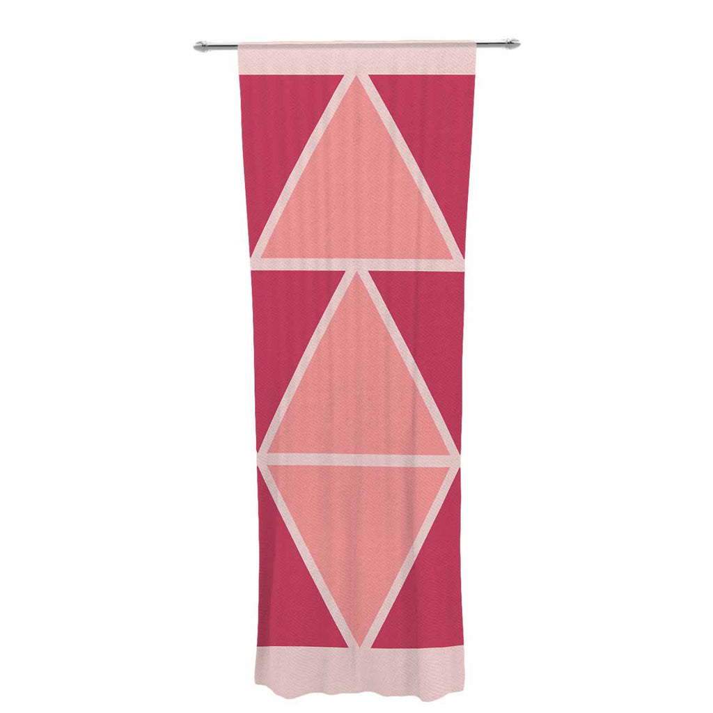 "NL designs ""Coral Peach Triangles"" Pink Patterns Decorative Sheer Curtain - KESS InHouse  - 1"