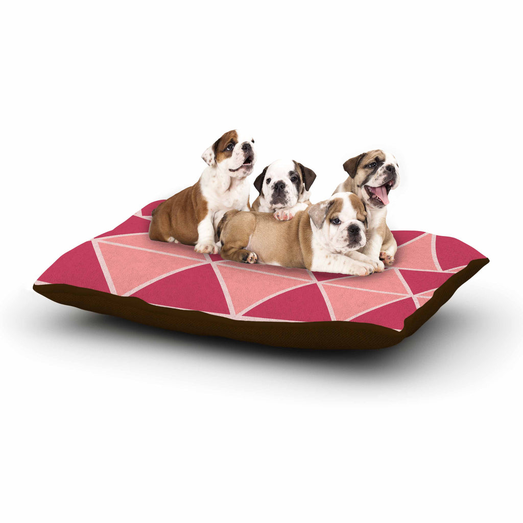 "NL designs ""Coral Peach Triangles"" Pink Patterns Dog Bed - KESS InHouse  - 1"