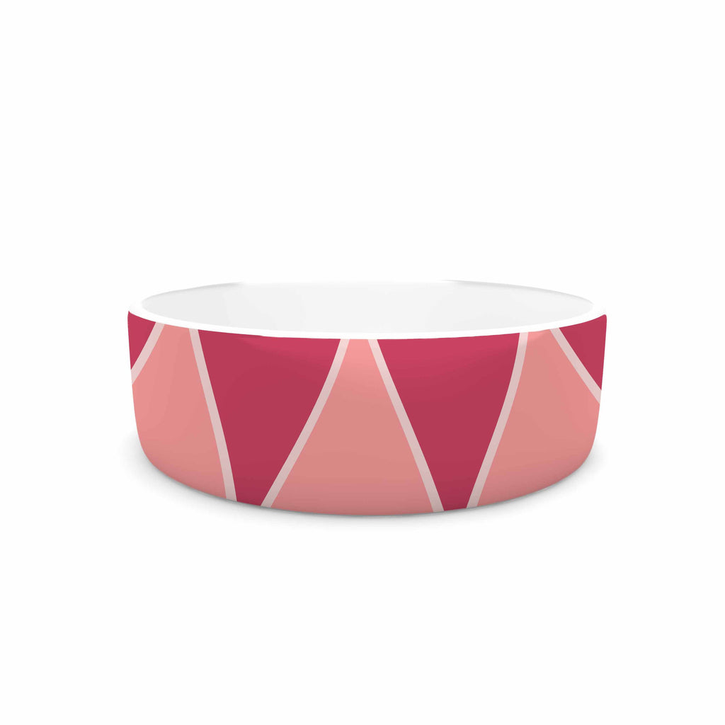 "NL designs ""Coral Peach Triangles"" Pink Patterns Pet Bowl - KESS InHouse"