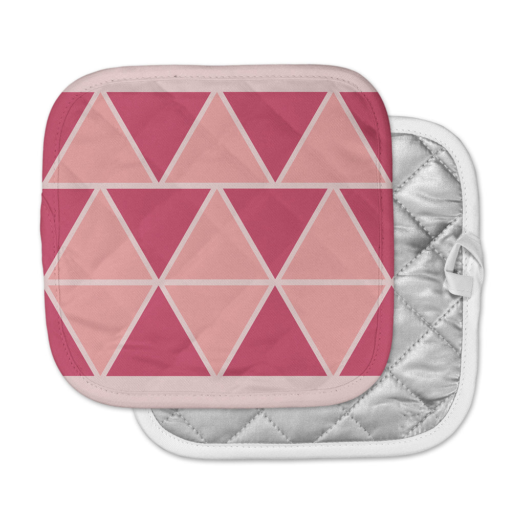 "NL designs ""Coral Peach Triangles"" Pink Patterns Pot Holder"