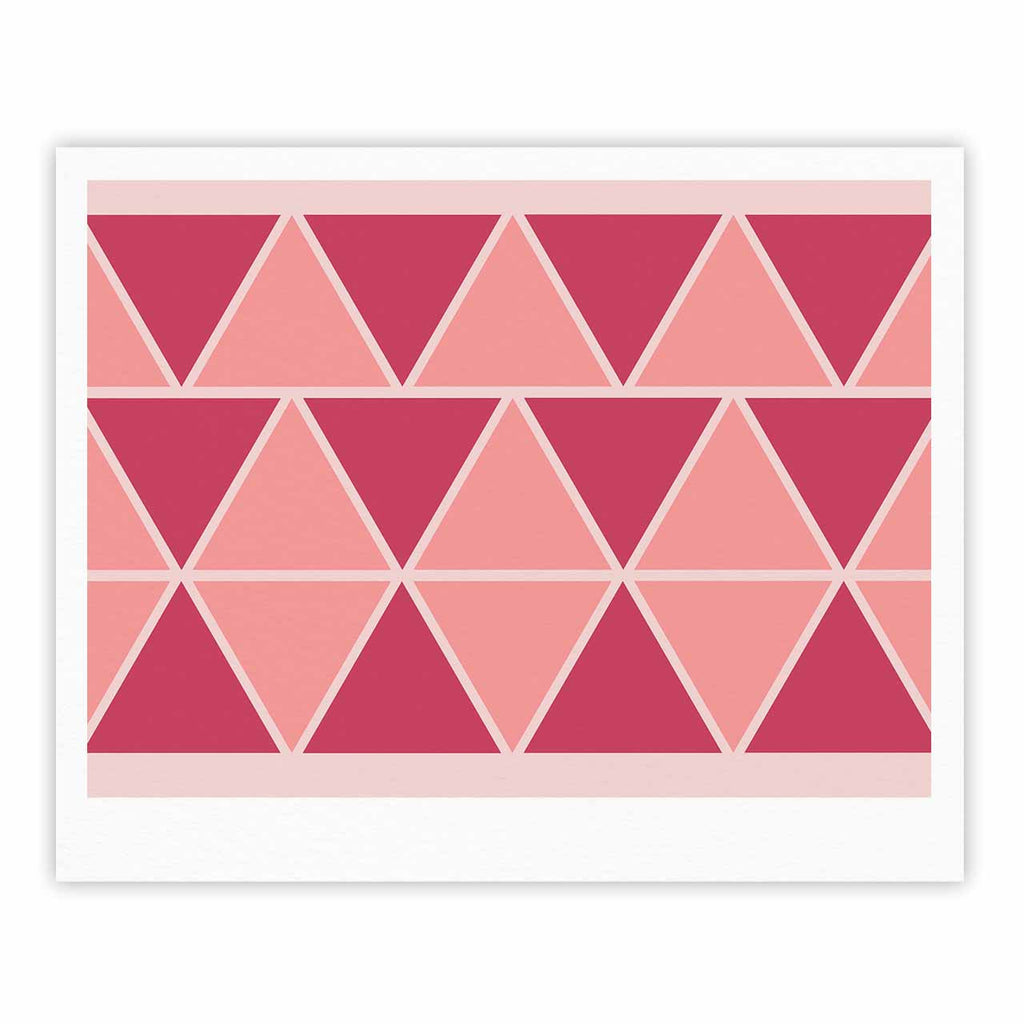 "NL designs ""Coral Peach Triangles"" Pink Patterns Fine Art Gallery Print - KESS InHouse"