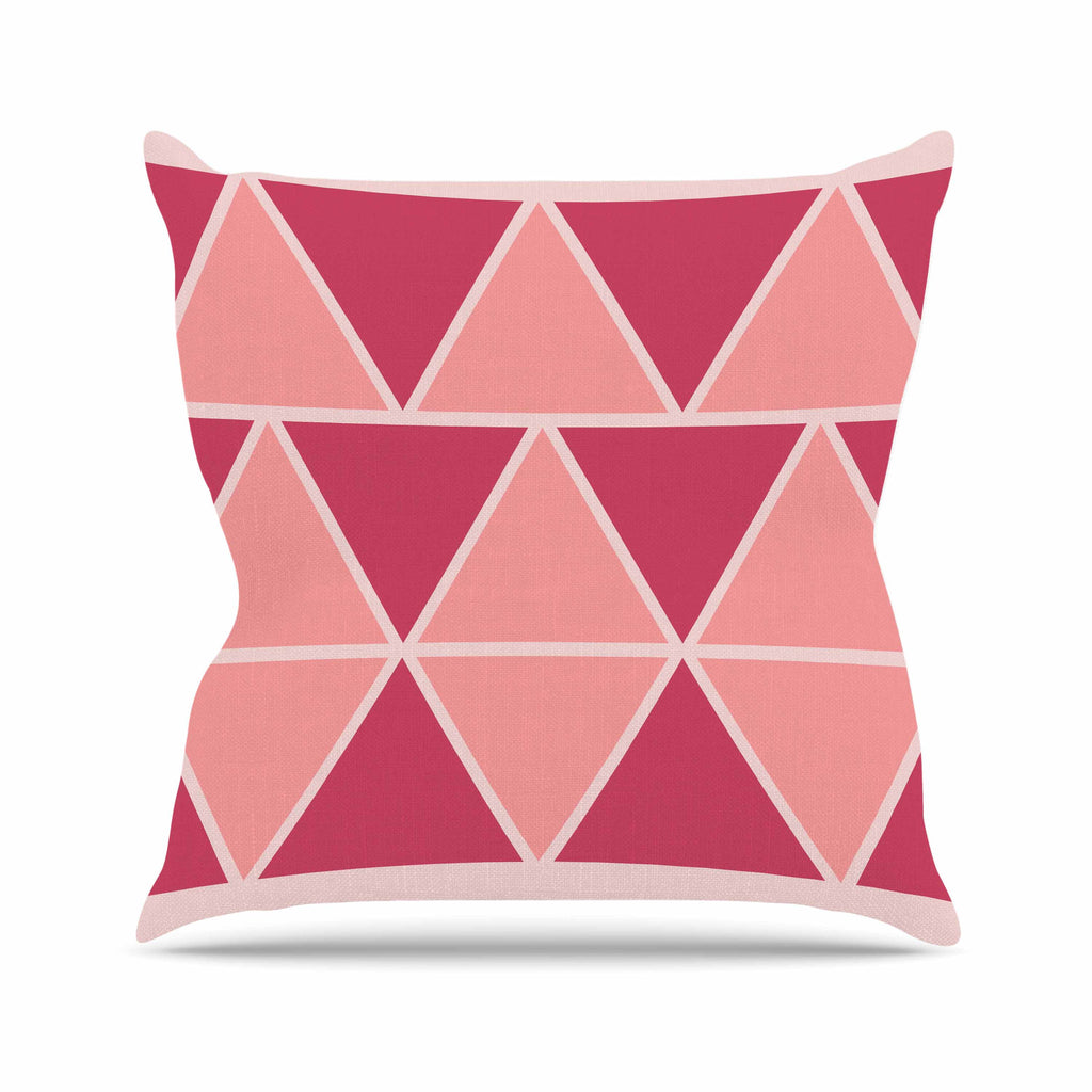 "NL designs ""Coral Peach Triangles"" Pink Patterns Throw Pillow - KESS InHouse  - 1"