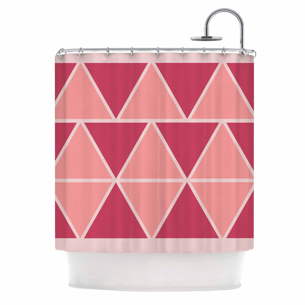"NL designs ""Coral Peach Triangles"" Pink Patterns Shower Curtain - KESS InHouse"