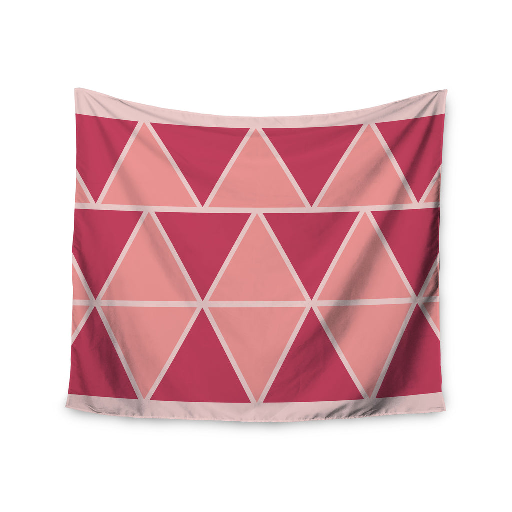 "NL designs ""Coral Peach Triangles"" Pink Patterns Wall Tapestry - KESS InHouse  - 1"