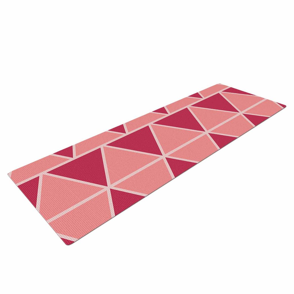 "NL designs ""Coral Peach Triangles"" Pink Patterns Yoga Mat - KESS InHouse  - 1"
