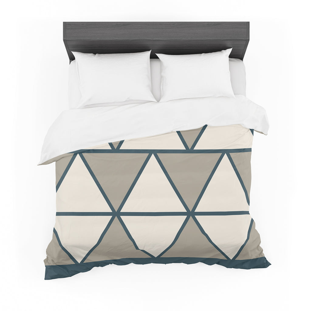 "NL designs ""Sandstone Triangles"" Beige Geometric Featherweight Duvet Cover"