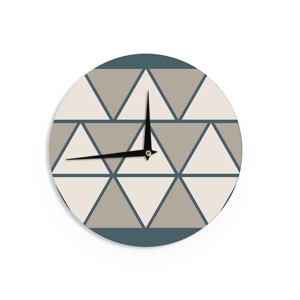"NL designs ""Sandstone Triangles"" Beige Geometric Wall Clock - KESS InHouse"