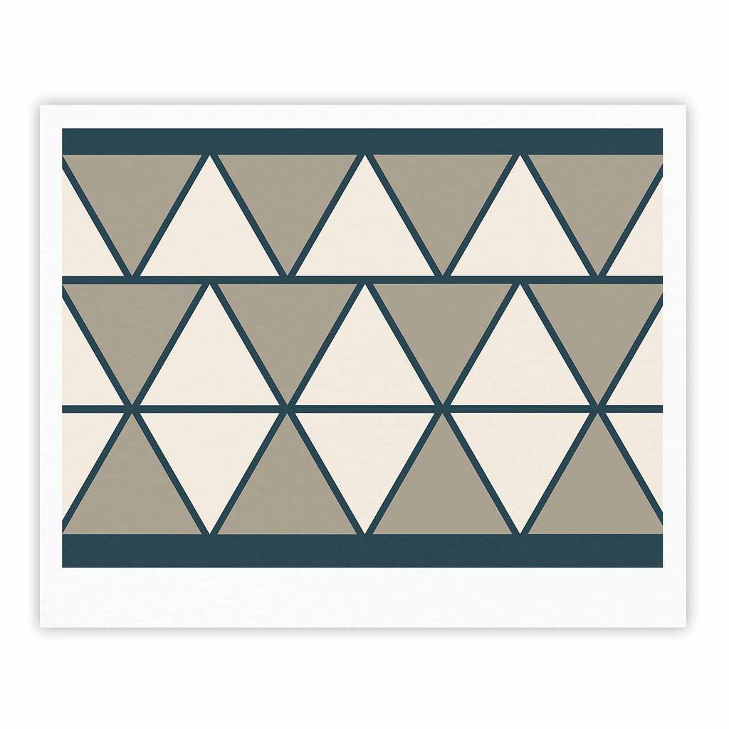 "NL designs ""Sandstone Triangles"" Beige Geometric Fine Art Gallery Print - KESS InHouse"