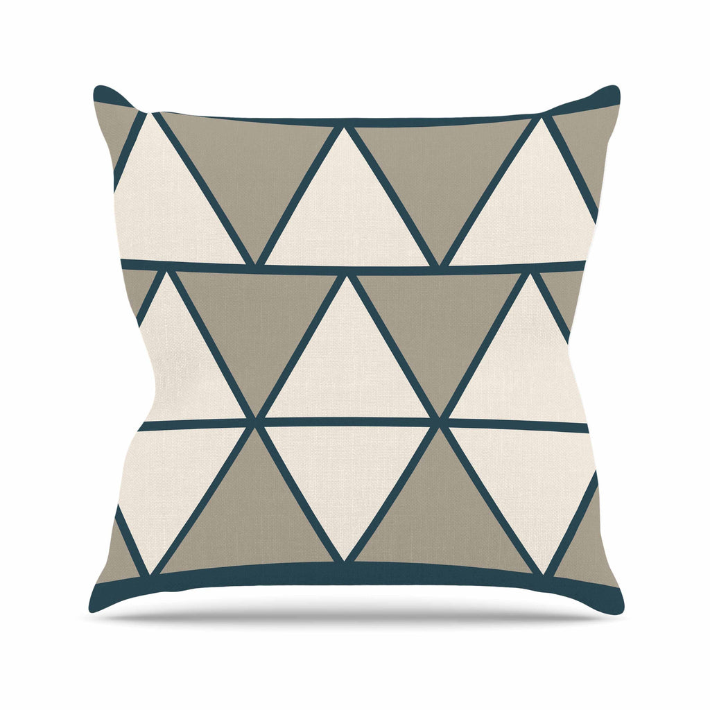 "NL designs ""Sandstone Triangles"" Beige Geometric Outdoor Throw Pillow - KESS InHouse  - 1"