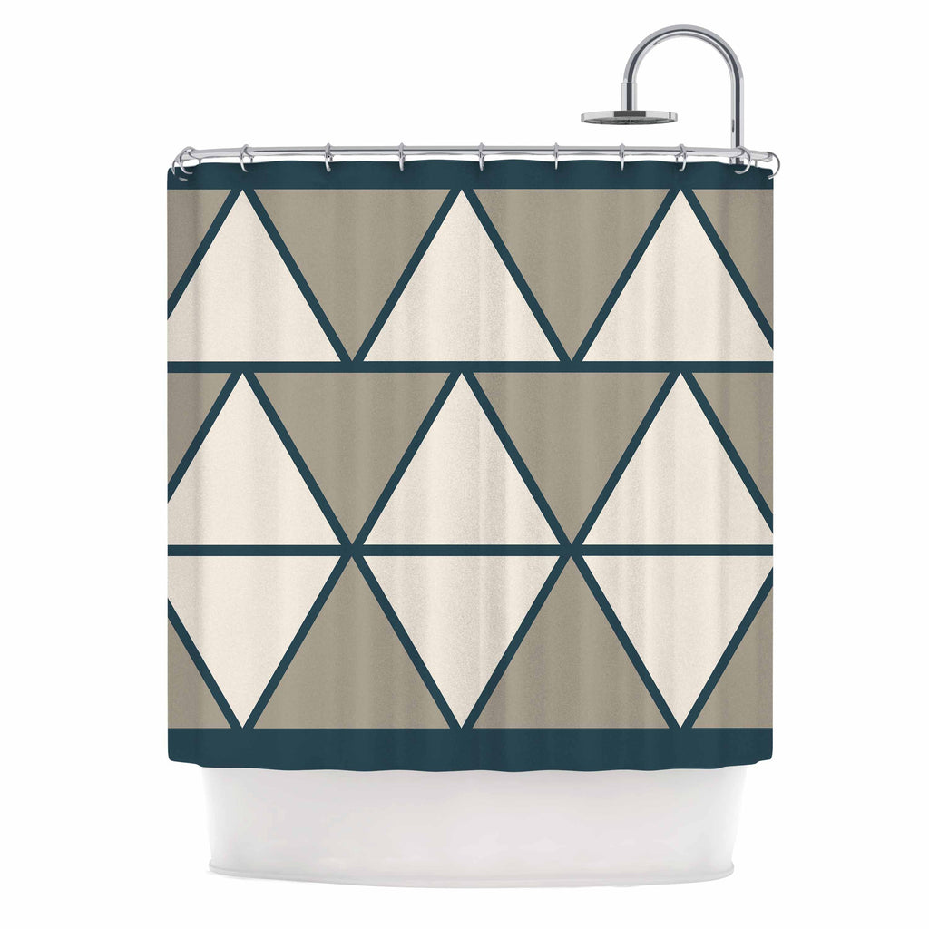 "NL designs ""Sandstone Triangles"" Beige Geometric Shower Curtain - KESS InHouse"