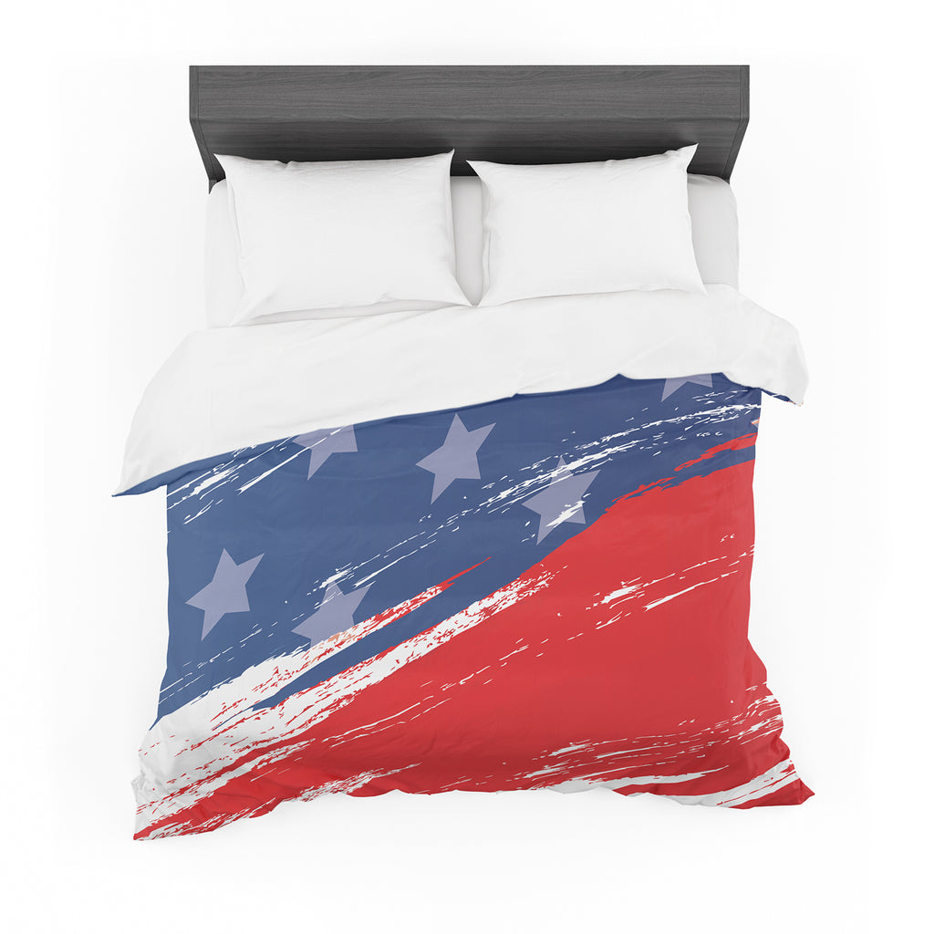 "NL designs ""Red White Blue"" Red White Featherweight Duvet Cover"